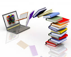 books pouring out of laptop