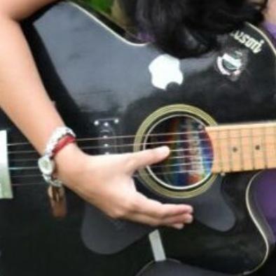 Divya's hand on guitar strings