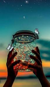 Jar in air with sparkles